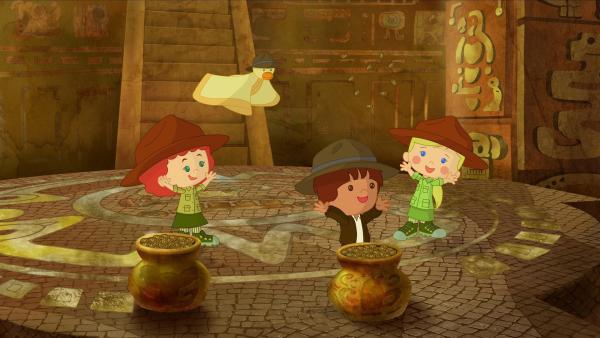Das Abenteuer bringt Tanja, QuackQuack, Finn und Zoé in eine geheimnisvolle Schatzkammer. | Rechte: KiKA/Mike Young Productions
