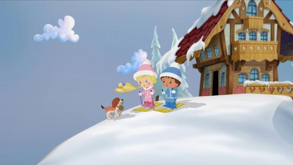 Zoé und Finn begegnen dem kleinen Bernhardiner Bernie. | Rechte: KiKA/Mike Young Productions