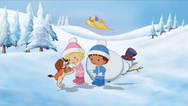 Zoé (2.v.li.), QuackQuack und Finn helfen dem kleinen Bernhardiner. | Rechte: KiKA/Mike Young Productions