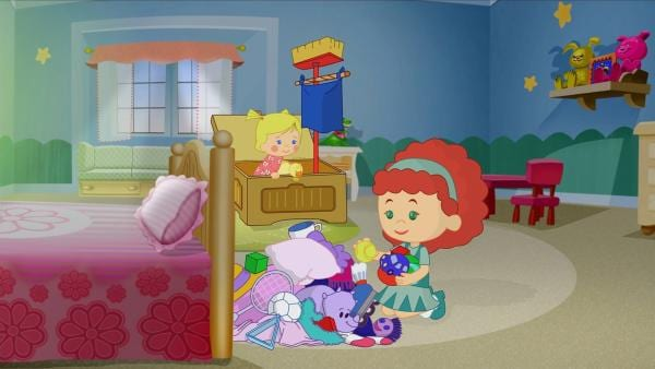 Zoé und Tanja spielen im Kinderzimmer.   Rechte: KiKA/Mike Young Productions
