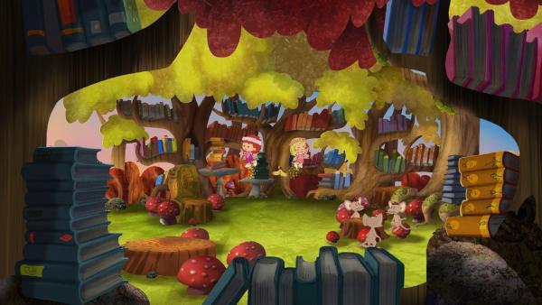 Drei kleine Mäuse nehmen Tanja, QuackQuack und Zoé mit in ihre Waldbücherei.   Rechte: KiKA/Mike Young Productions