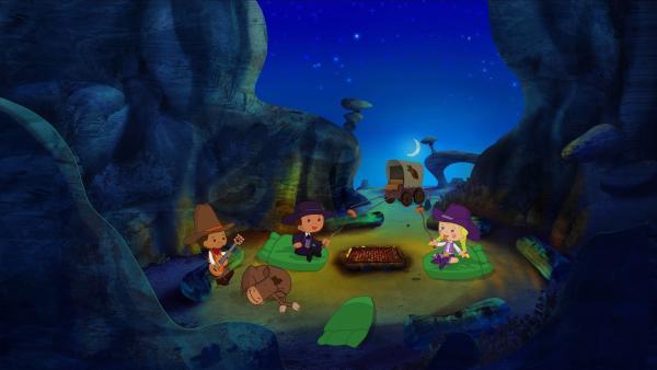 Abends machen es sich Zoé und ihre Freunde an einem Lagerfeuer gemütlich. | Rechte: KiKA/Mike Young Productions