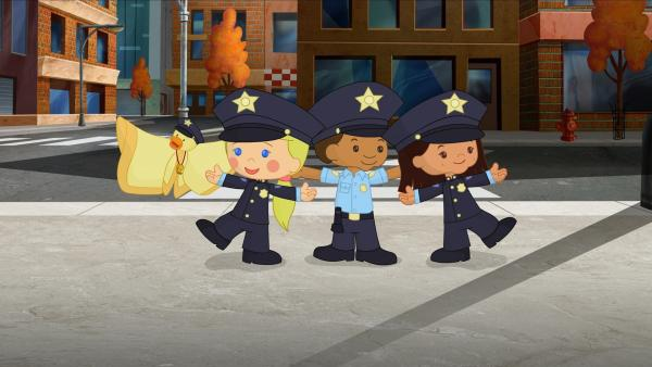QuackQuack, Zoé, Hamid und Yasemin sind heute Polizisten. | Rechte: KiKA/Mike Young Productions