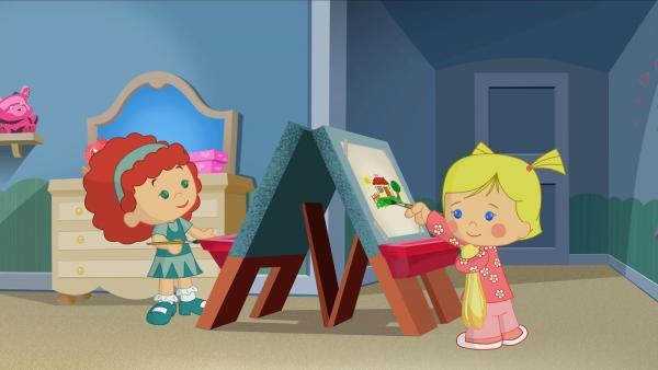 Tanja und Zoé malen schöne, bunte Bilder. | Rechte: KiKA/Mike Young Productions