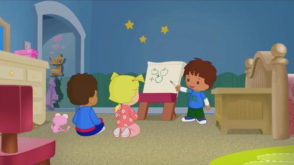 Hamid, Zoé und Finn spielen Schule. | Rechte: KiKA/Mike Young Productions