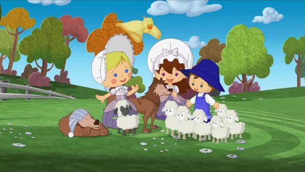 Zoé, Lili und Max haben ihre Schafe wiedergefunden und sogar dem Wolf und seinem Bruder geholfen.   Rechte: KiKA/Mike Young Productions