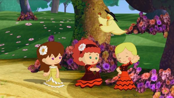 V.l.: Lili, Tanja und Zoé als Flamencotänzerinnen. QuackQuack spielt die Kastagnetten. | Rechte: KiKA/Mike Young Productions