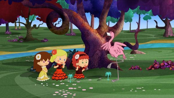 Auf kleinen Springbrunnenquellen lernen Lili, Tanja und Zoé die richtigen Flamenco-Schritte. | Rechte: KiKA/Mike Young Productions