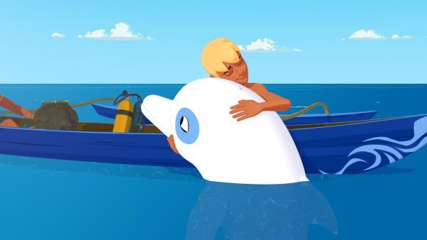 Der weiße Delfin Zoom und sein Freund Yann sind unzertrennlich.   Rechte: ZDF/Media Valley/Marzipan Films/TF1/Gaumont Animation