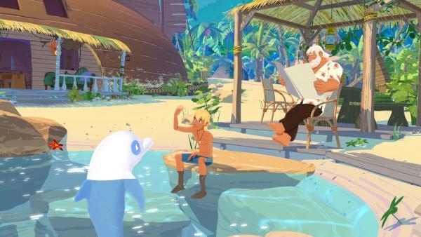Zoom, der weiße Delfin, Yann und Onkel Patrick genießen das Leben auf Maotou.   Rechte: ZDF/Media Valley/Marzipan Films/TF1/Gaumont Animation
