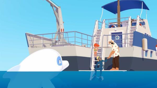 Zoom beobachtet, wie sich Yann auf dem Schiff von Onkel Patrick für das Tauchen fertigmacht. Ein seltsamer Ton hat die Bewohner von Maotou aufgeschreckt und Yann will unbedingt herausfinden, was den Ton verursacht hat.   Rechte: ZDF/Media Valley/Marzipan Films/TF1/Gaumont Animation