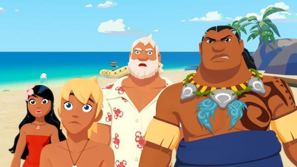 Timeti, Yann, Onkel Patrick und Papa Tuanaku sind entsetzt. Der Gauner Van Krook behauptet, eine Eigentumsurkunde der Insel Heramana zu haben. Nun will er dort eine riesige Hotelanlage bauen. | Rechte: ZDF/Media Valley/Marzipan Films/TF1/Gaumont Animation