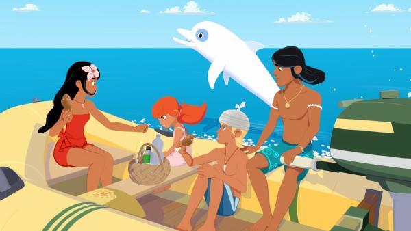 Timeti, Marina, Yann und Auru machen einen Ausflug mit dem Boot und Zoom begleitet sie. Yann tut schon den ganzen Tag so, als hätte er bei einem Sturz sein Gedächtnis verloren und verstrickt sich dabei immer tiefer in seine Lügen.   Rechte: ZDF/Media Valley/Marzipan Films/TF1/Gaumont Animation