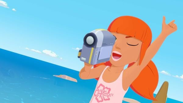 Heute führt Marina Regie. Sie dreht ein Video, mit dem sie bei einem Preisausschreiben gewinnen will und gibt dazu Anweisungen an ihre Schauspieler Yann, Auru und Timeti. | Rechte: ZDF/Media Valley/Marzipan Films/TF1/Gaumont Animation