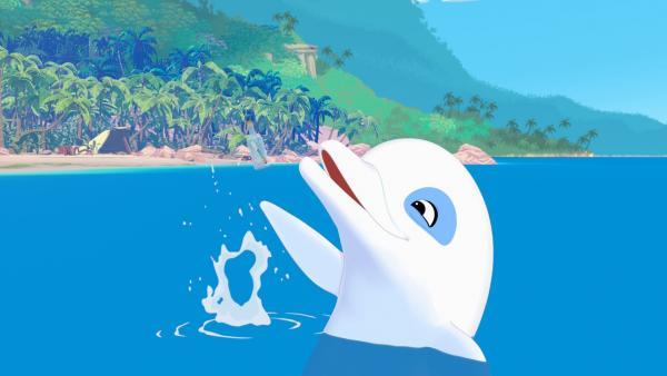 Zoom freut sich, er hat unter Wasser eine Flaschenpost entdeckt. | Rechte: ZDF/Media Valley/Marzipan Films/TF1/Gaumont Animation