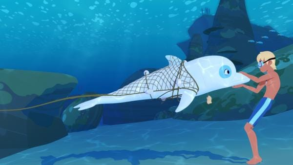 Alle verdächtigen Zoom, dass er für die Rotfärbung des Meeres vor der Küste verantwortlich ist. Nur Yann glaubt an seine Unschuld und befreit ihn aus dem Netz, in dem er gefangen war. | Rechte: ZDF/Media Valley/Marzipan Films/TF1/Gaumont Animation