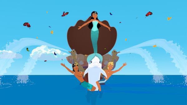 Timeti, Auru, Zoom und Yann haben eine Begrüßungsshow einstudiert. Damit soll der Millionär Terry Werner willkommen geheißen werden, der auf der Insel ein Meeresinstitut eröffnen will.   Rechte: ZDF/Media Valley/Marzipan Films/TF1/Gaumont Animation