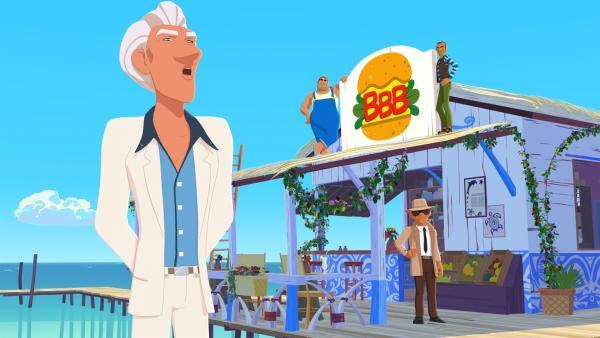 Van Krook (l.) hat sich das Strandrestaurant von Maeva durch einen Trick unter den Nagel gerissen. Von nun an soll es dort nur noch von ihm gelieferte Burger geben. | Rechte: ZDF/Media Valley/Marzipan Films