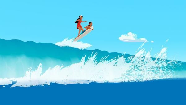 Timeti (l.) und Auru (r.) genießen das Wellenreiten auf dem Meer vor der Insel Maotou. | Rechte: ZDF/Media Valley/Marzipan Films