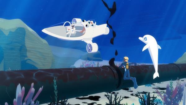 Yann (2.v.r.) und Zoom (r.) haben die lecke Stelle in der Unterwasser-Pipeline gefunden und Van Krook und Onkel Patrick sind mit dem U-Boot unterwegs, um das Leck zu dichten. Sollte das nicht gelingen, droht eine Ölpest vor der Küste von Maotou.   Rechte: ZDF/Media Valley/Marzipan Films