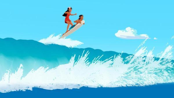 Timeti und Auru (beide mittig) surfen auf der Spitze einer riesen großen Welle.   Rechte: Media Valley/Marzipan Films - 2020