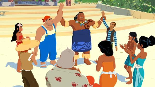 Rico und Biff lassen sich als Helden im Dorf feiern. Der Häuptling steht zwischen ihnen und hält in Siegespose jeweils einen Arm der beiden hoch. | Rechte: (c) Media Valley / Marzipan Films - 2020